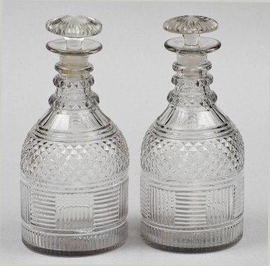 Antique English Cut-Glass Decanters