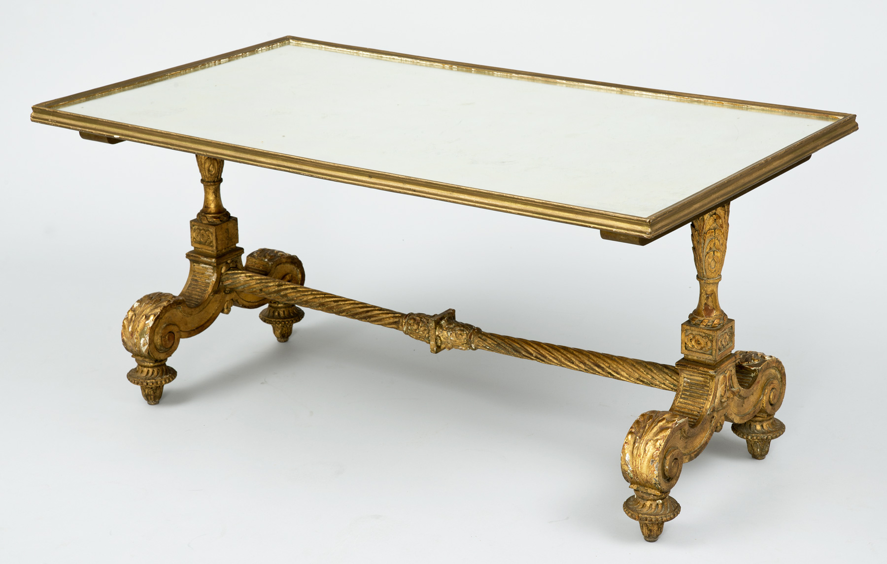 Product Antique Carved Giltwood Mirrored Coffee Table
