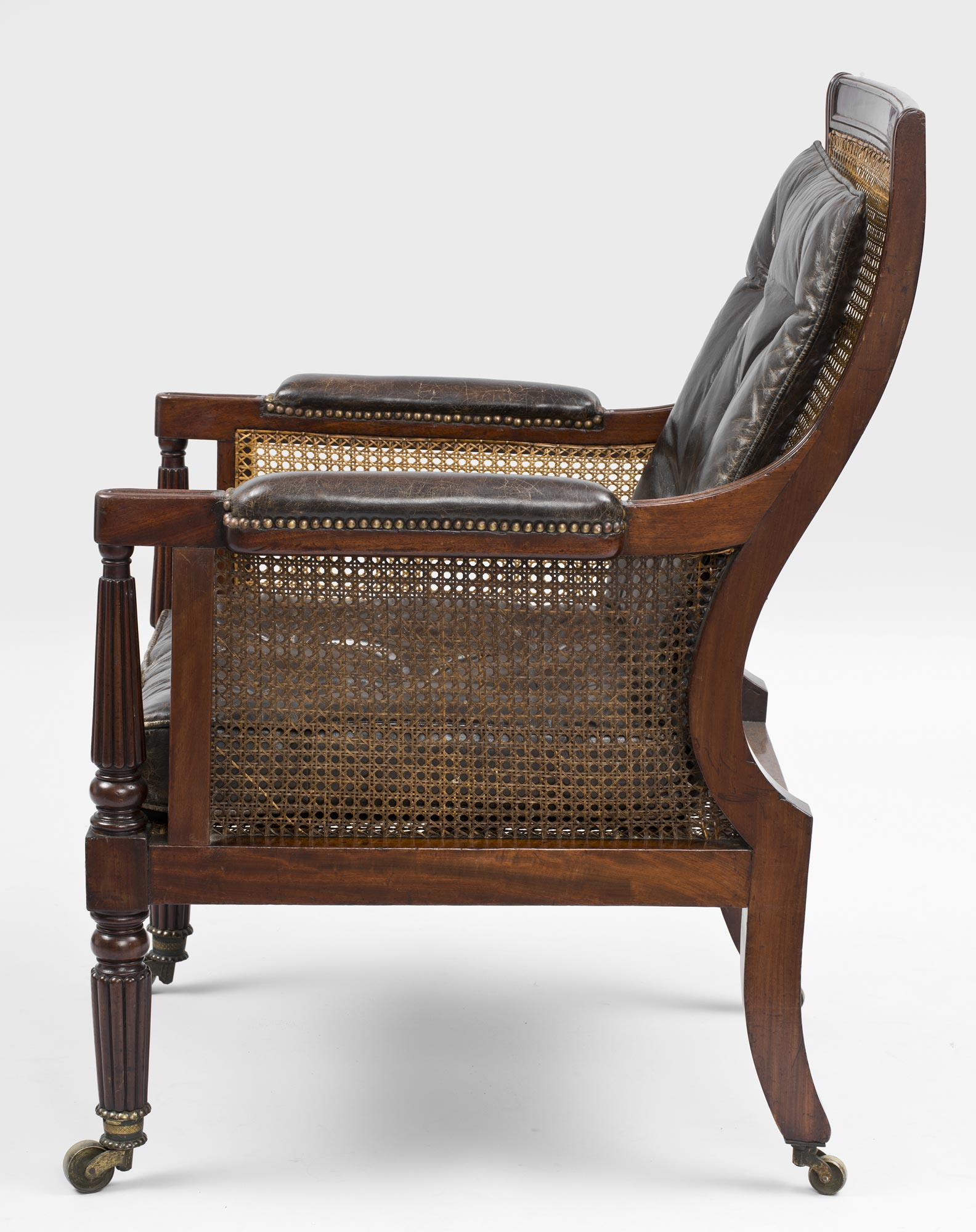 ... Antique English Regency Caned Library Armchair ... - Antique Armchairs English Regency Mahogany Library Caned Armchair