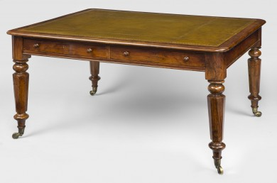 Antique English William IV Walnut Partners Writing Table