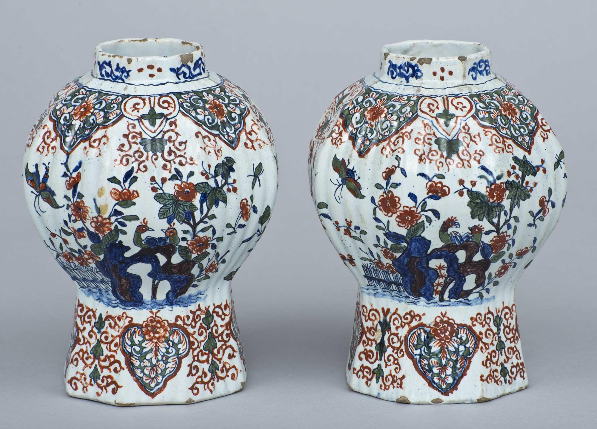 Pair Dutch Delft Vases 17th Century