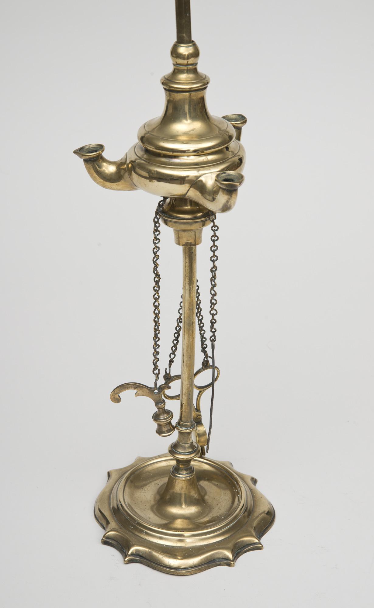 Italian Brass Lucerne Oil Lamp Electrified