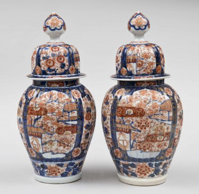 Pair of Imari Ribbed Vases and Covers