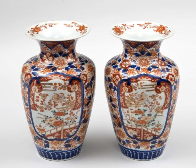 Pair Imari Open Vases, Circa 1890