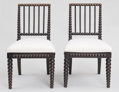 Pair Late Regency Bobbin-Turned Side Chairs, Circa 1830