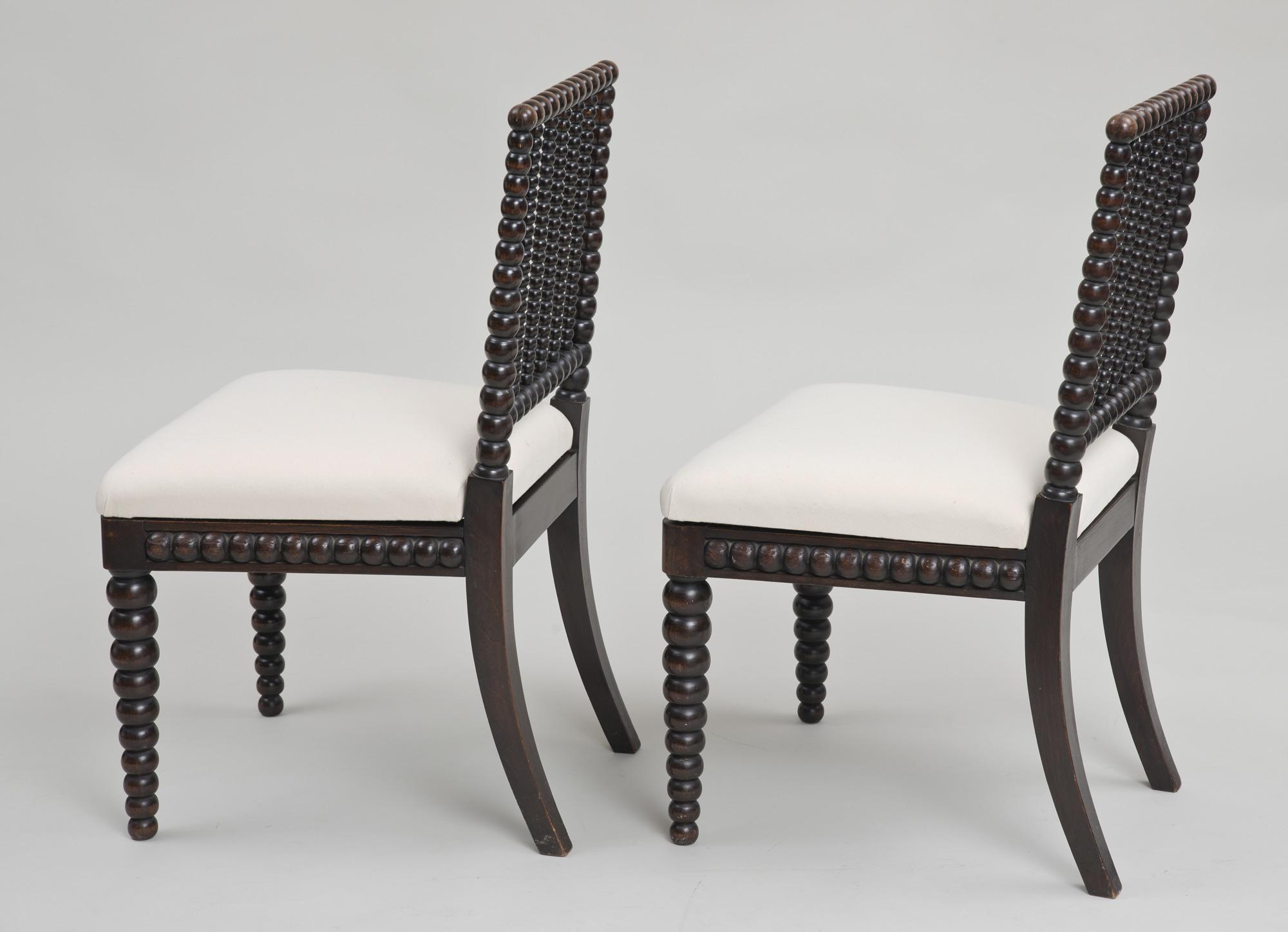 ... Pair Late Regency Bobbin Turned Side Chairs, ...