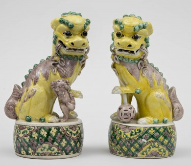 Pair Chinese Yellow Foo Dogs