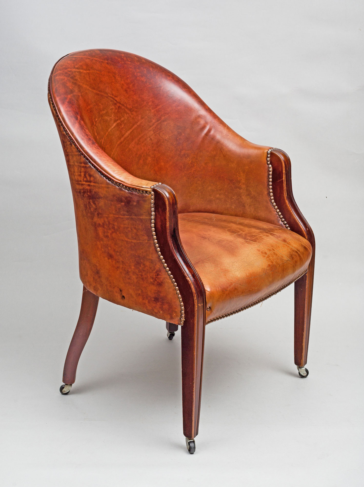 ... Edwardian Leather Tub Chair ... - Antique Edwardian Tub Chair Antique Mahogany Leather Tub Chair