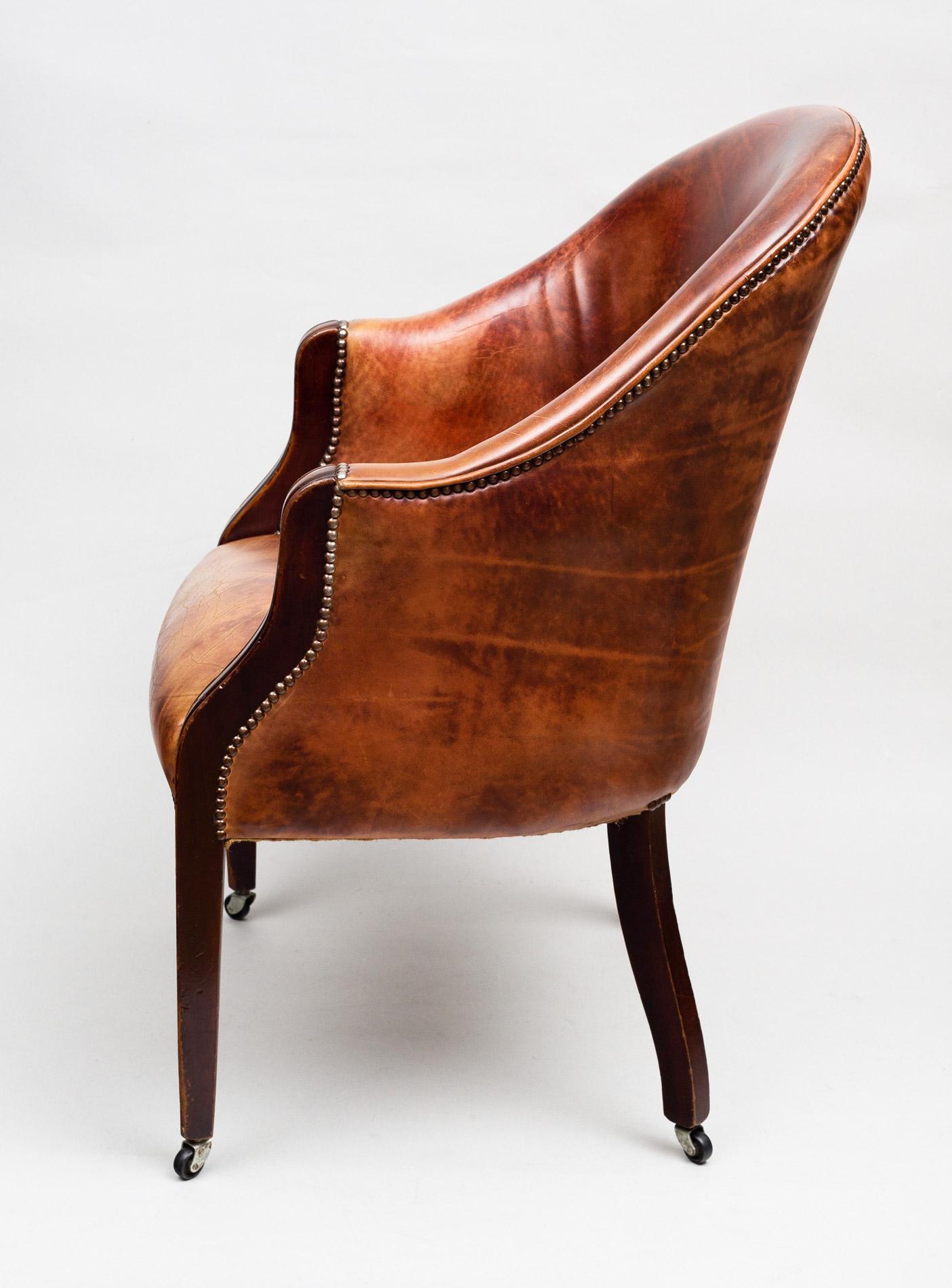 ... Edwardian Leather Tub Chair ... - Antique Edwardian Tub Chair Antique Mahogany Leather Tub Chair