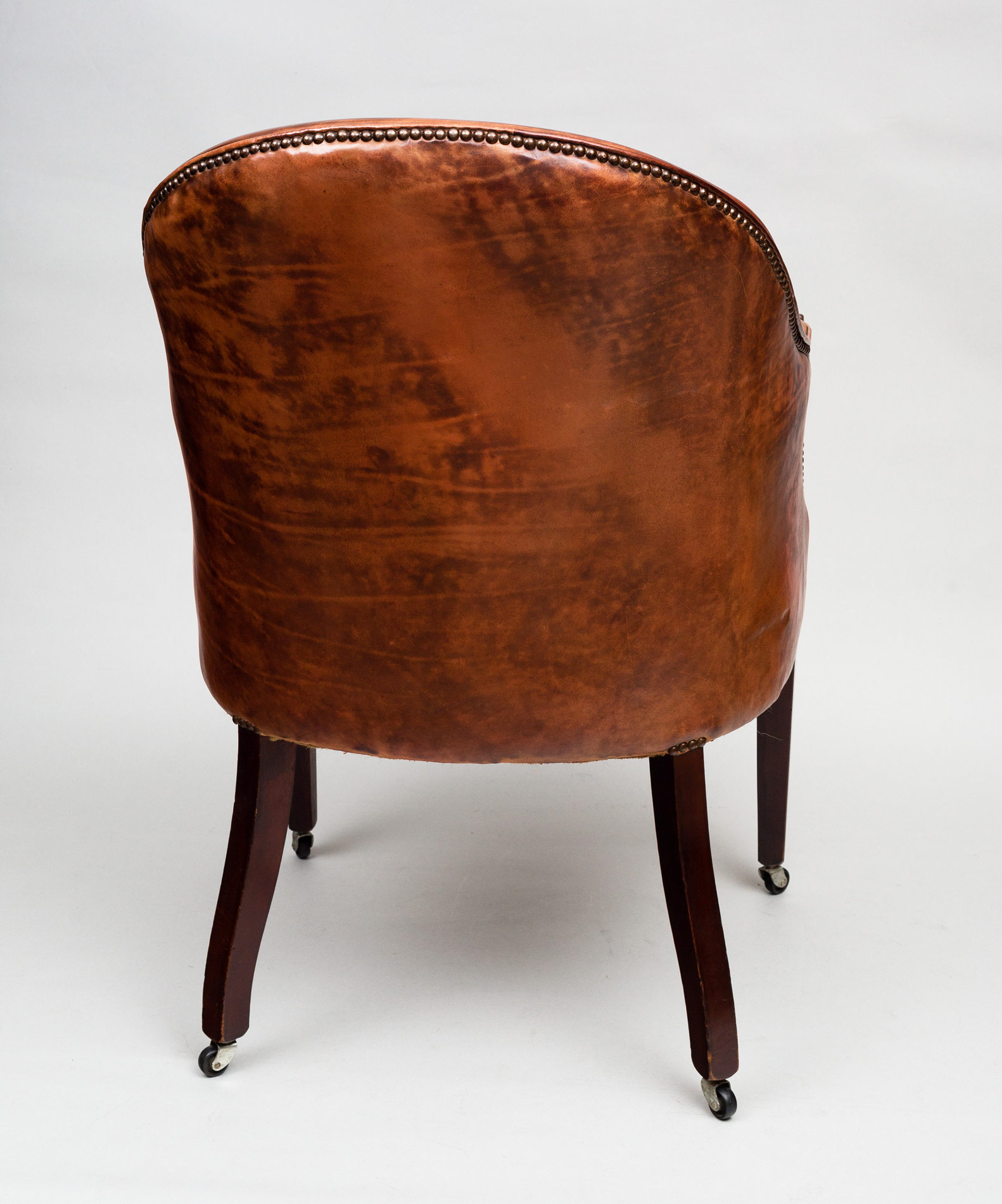 Antique Edwardian Tub Chair | Antique Mahogany Leather Tub Chair