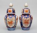 Pair of Large Imari Vases with Lids, Circa 1890