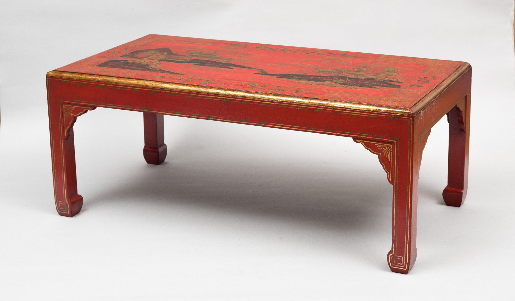 Product Chinoiserie Red Lacquered Coffee Table