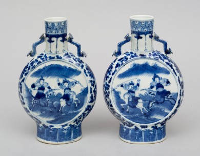Pair of Chinese Blue and White Moon Flasks