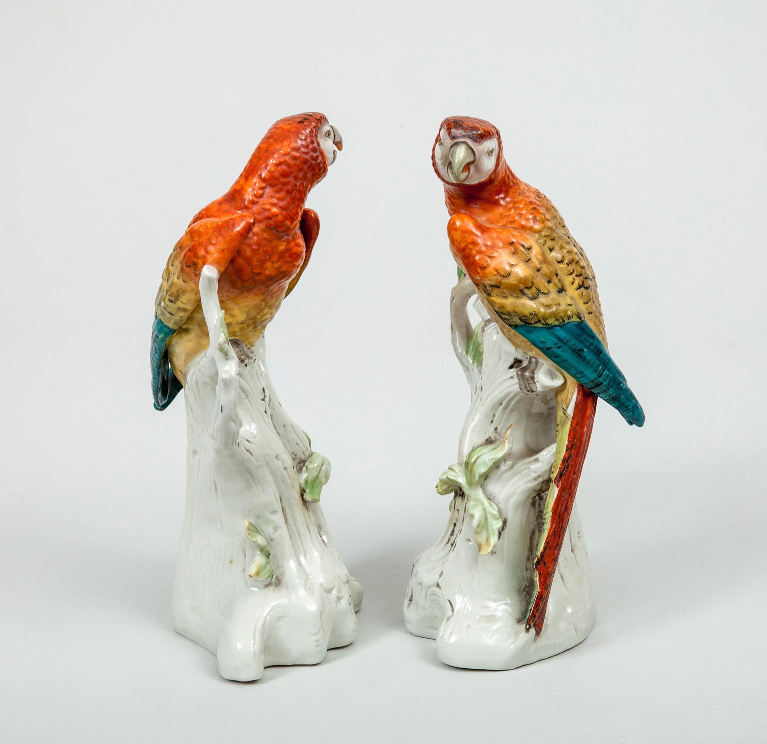 Pair Of Antique Continental Porcelain Parrots Circa 1880