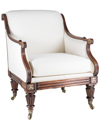 Fine Regency Simulated Rosewood Library Armchair