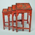 Chinese Red Lacquered Nest of Quarteto Tables
