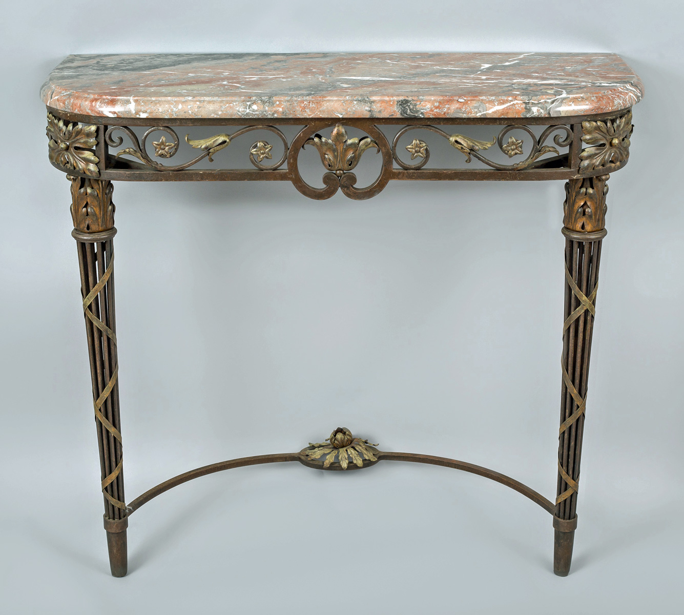 French Wrought Iron And Marble Console Table