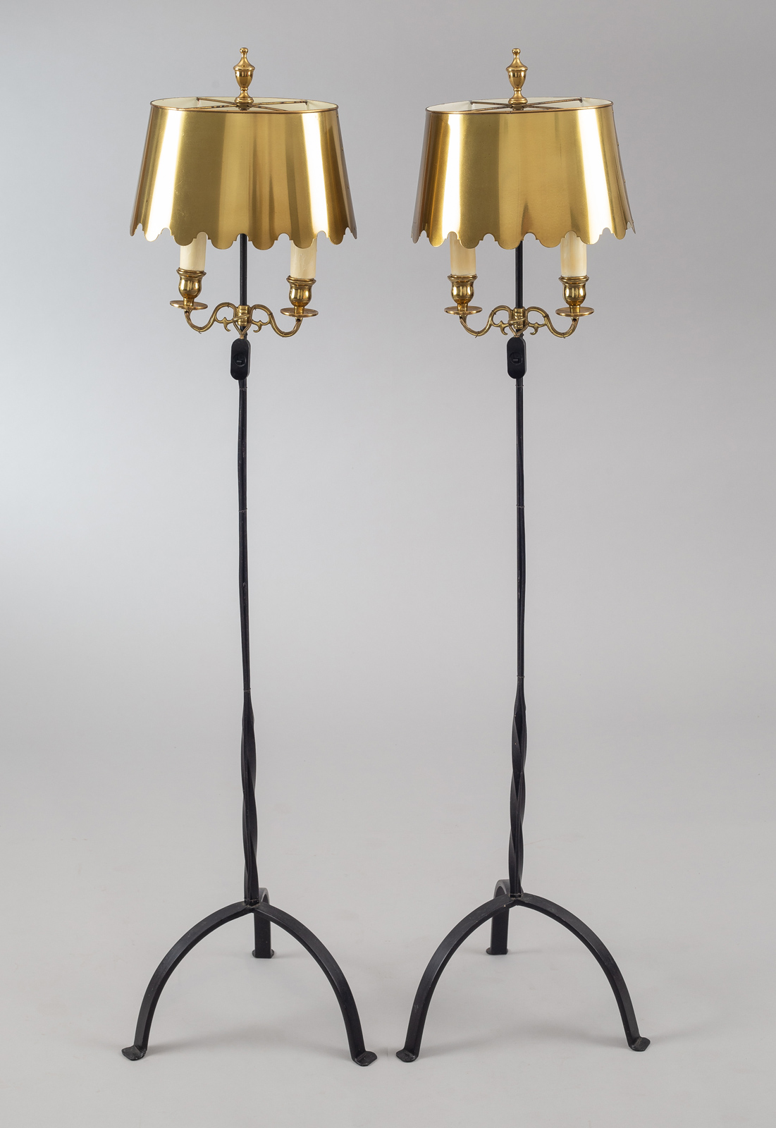 Vintage Fortuny Wrought Iron and Brass Floor Lamps