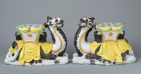 Pair Italian Majolica Camel Side Tables or Garden Seat