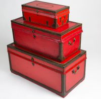 Set of Three Chinese Export Camphor Wood Leather Trunks