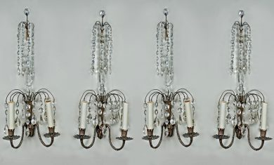 Set of Four Swedish Crystal Wall Sconces