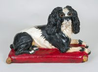 Early Staffordshire Black and White Sitting Spaniel Dog