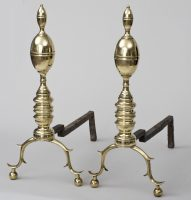 American Double Lemon Top Andirons, Circa 1780-1810