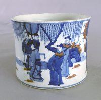 Chinese Export Blue and White Clobbered Brush Pot