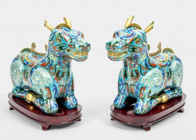 Antique Chinese Cloisonne Incense Burner Horse Boxes