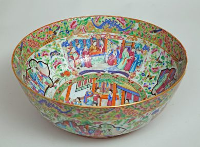 Chinese Famille Rose Mandarin Punch Bowl
