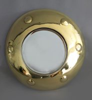 Round Mirror with Convex Shaped Brass Frame