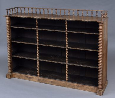 Antique English Victorian Walnut Open Bookcase With Barley Twist Columns & Gallery