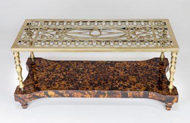 Brass Trivet Coffee Table on Faux Tortoiseshell Base