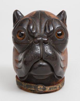 Antique Carved Lignum Vitae Bulldog Inkwell, Circa 1860