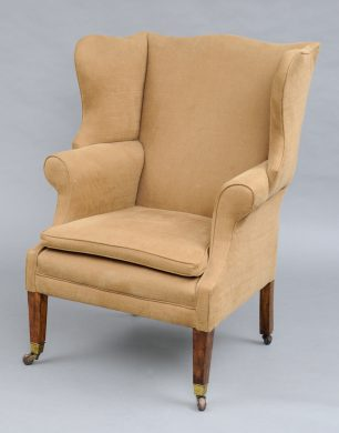 Antique English George III Style Mahogany & Ash Wing Chair, 19th Century