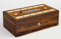 Antique English Inlaid Cribbage Box, Circa 1860