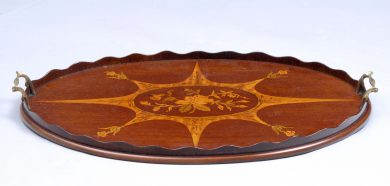 Antique English Inlaid Oval Tray, Circa 1900