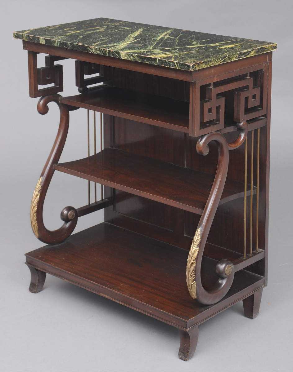 Antique English Late Regency Mahogany PierConsole Marble Top Table