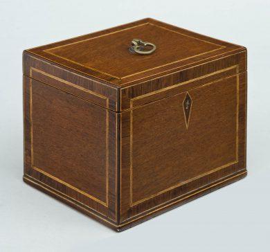 Antique English Mahogany and Rosewood Tea Caddy, Circa 1820