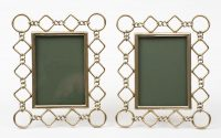 Antique English Pair Brass Ring & Diamond Shaped Photo Frames, Circa 1900