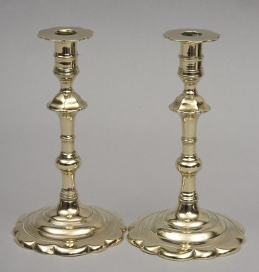 Antique English Pair Scalloped Base Candlesticks