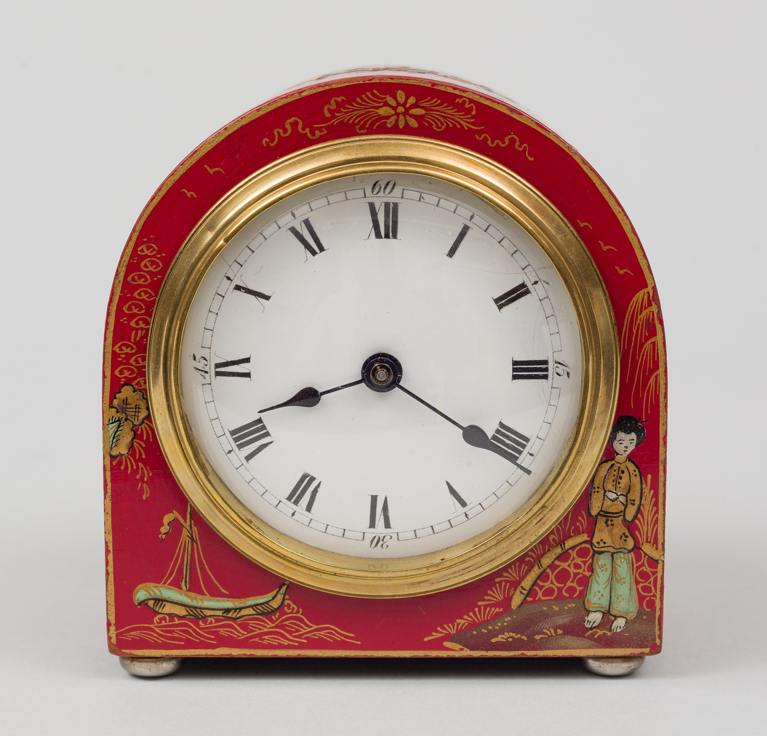 Antique English Red Chinoiserie Desk Clock