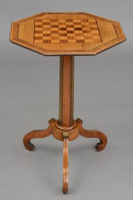Antique English Regency Brass Inlaid Pedestal Games Table