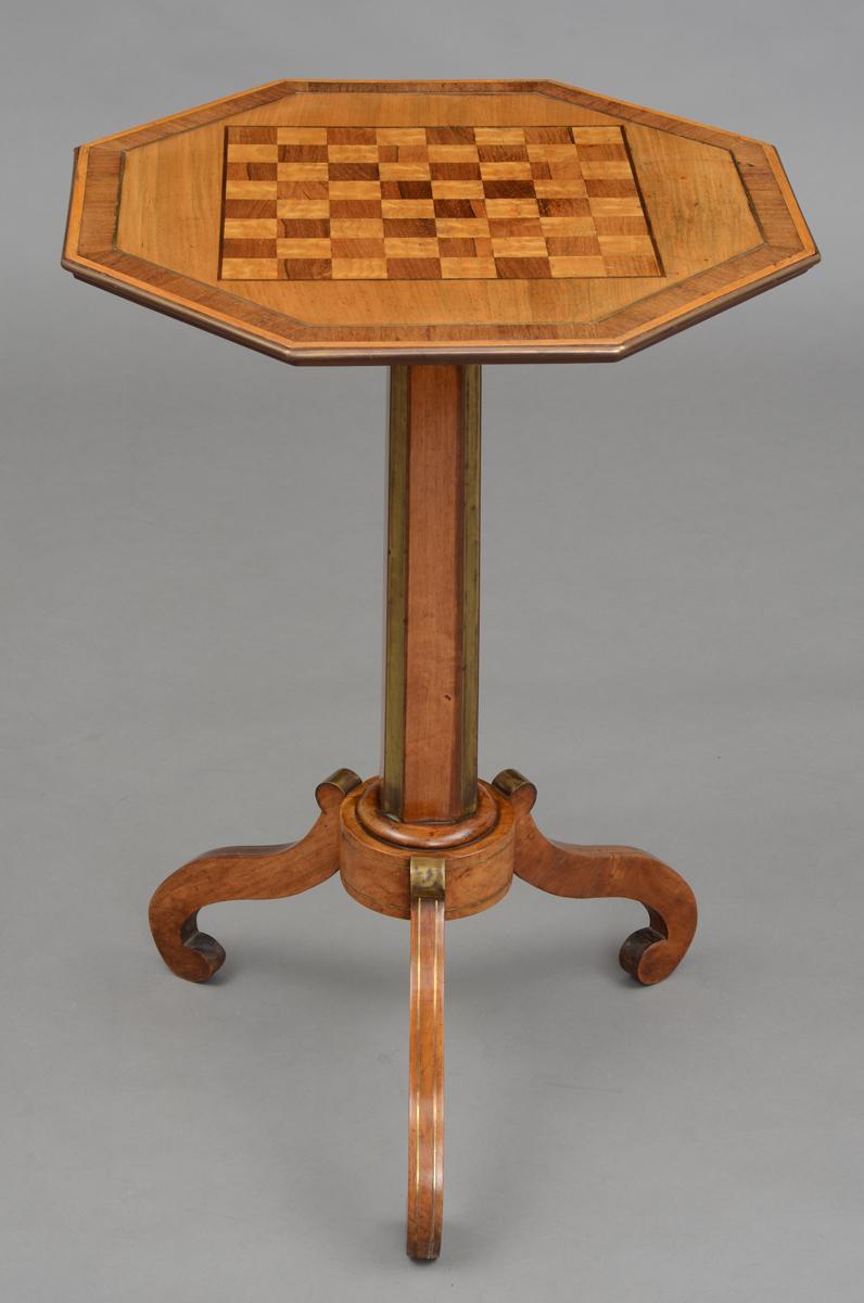 Antique Octagonal Games Table English Inlaid Pedestal