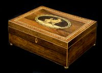 Antique English Regency Rosewood Inlaid Box, Circa 1820