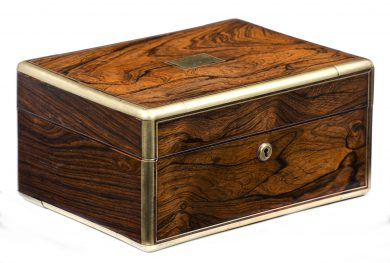 Antique Rosewood Brass Bound Jewelry Box, Circa 1825