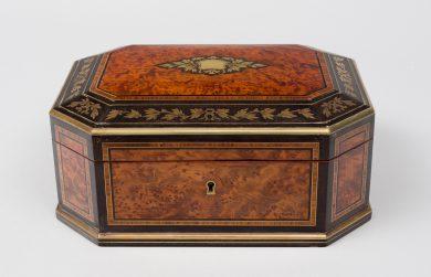 Walnut and Brass Inlaid Jewelrey Box, Circa 1850