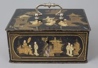 Rare French Chinoiserie Lacquered Strong Box