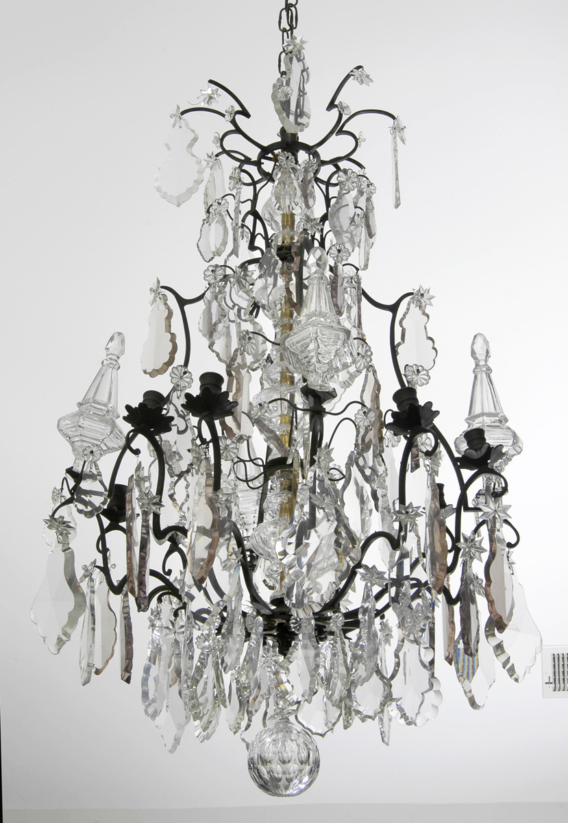 Antique French Crystal and Bronze Chandelier - French Louis XV Crystal And Bronze Antique Chandelier