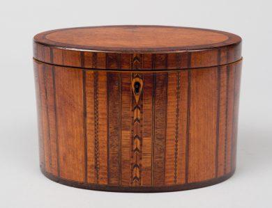 Fine Georgian Oval Inlaid Tea Caddy, Circa 1800